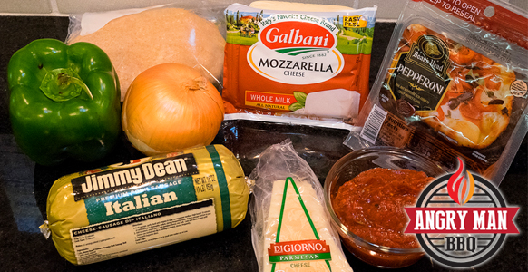 Gather your ingredients and have fun creating pizza to bake in your BGE or oven.