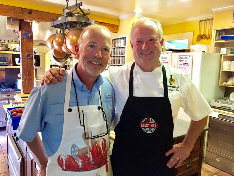 Chef Michael Salmon of Hartstone Inn and Glenn Martin of Angry Man BBQ