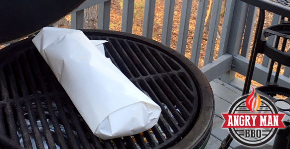 Smoking Baby Back Ribs in butcher paper - Big Green Egg - Angry Man BBQ