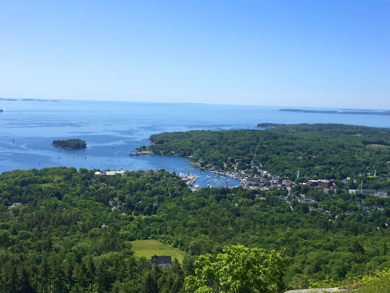 Looking down on Camden from the Tower on Mt Battie.