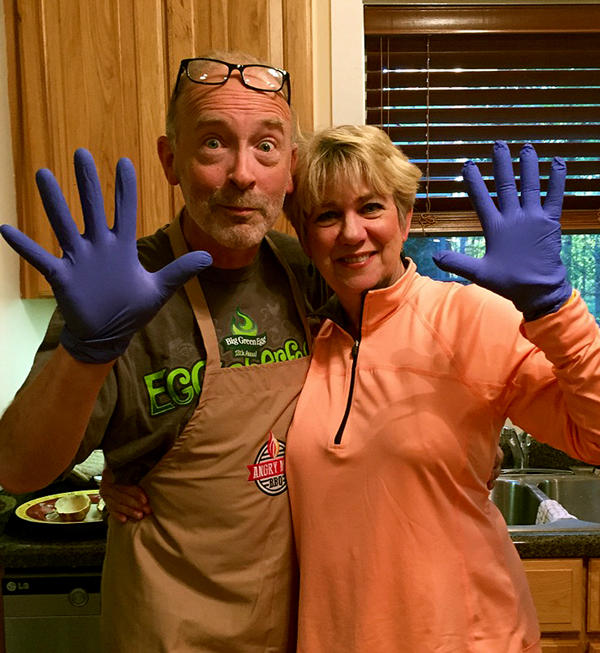 Cooking fun in The Angry Man BBQ Test Kitchen with my SIL, Pam.