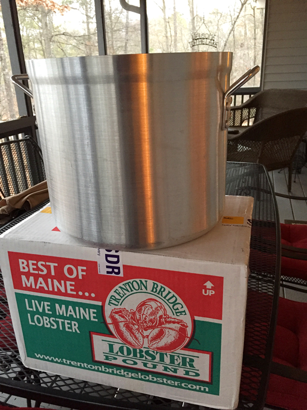 Our lobser pot awaits a visit from the lobsters that flew in from Trenton Bridge Lobster Pound. www.trentonbirdgelobster.com